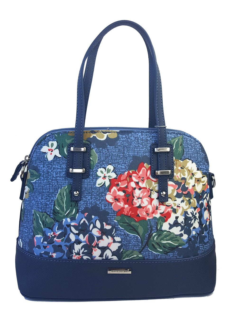 Small Handbag - Floral PU Leather Crossbody bag for Women with Zipper, Pockets and Shoulder Strap(Blue)