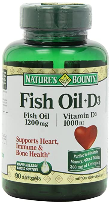 Natures Bounty Omega 3 plus D3 Fish Oil 1200 mg Vitamin D 1000 IU Softgels 90