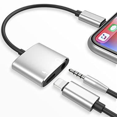 Lightning Jack Adapter,Lightning Adapter Dongle with Call & Audio & Charge Function for iPhone X iPhone 8/8Plus iPhone 7/7Plus Dual Adapter Audio Lightning Headphone Adapter Compatible Support iOS 11