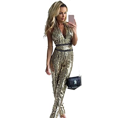 85d88be29492 Amazon.com  AIDEAR Women s Gold Sequin Deep-V Strapless Backless Playsuit  Sequined Jumpsuits  Clothing
