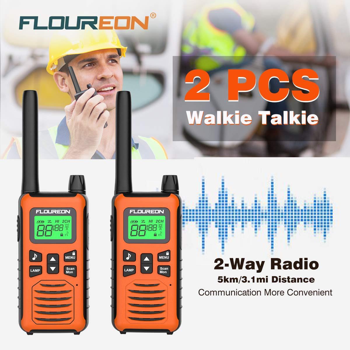 Walkie Talkies, FLOUREON 2 Pack 5KM Rango de 16 Canales, Radio de 2 vías con Pantalla LCD para Supermercado/Hogar/Actividad de Interior o al Aire Libre (Naranja)