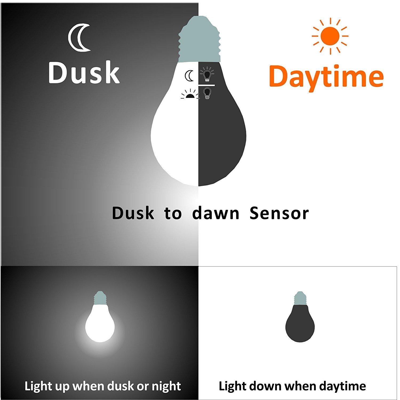 Dusk to Dawn LED Lights Bulb, Photocell Sensor Bulb, Auto Turn On ...