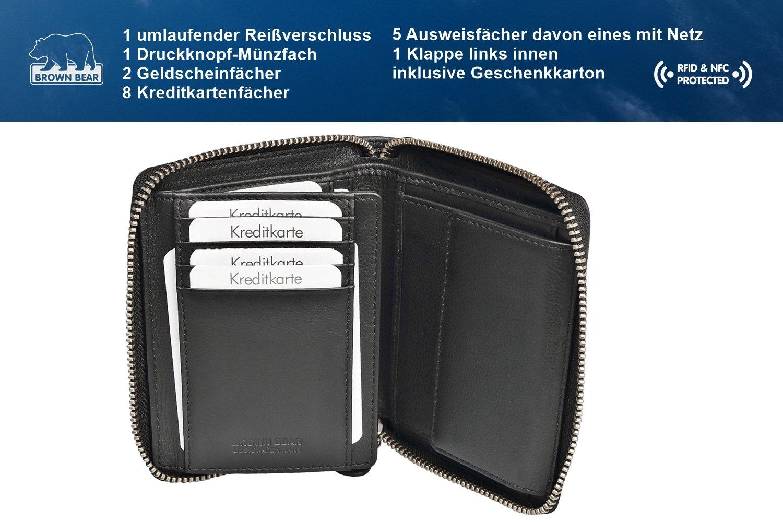 9866e2cda932d Brown Bear Geldbörse Leder Schwarz Reißverschluss RFID Schutz hochwertig  Doppelnaht Herren Hochformat Damen Geldbeutel Männer Portemonnaie  Portmonaise ...