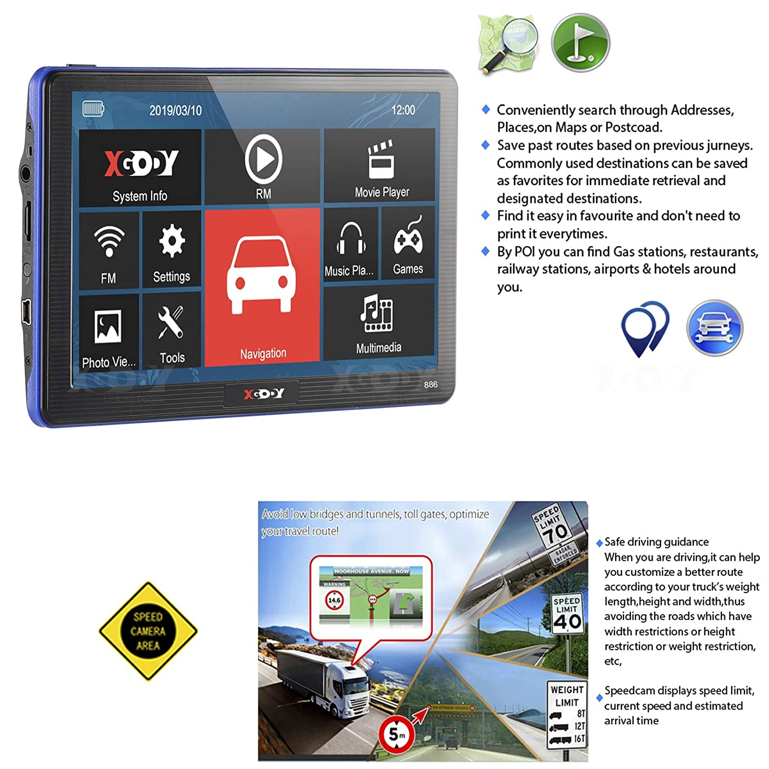 "XGODY Car Truck Sat Nav GPS Navigation for Car 8GB ROM 7/"" Capacitive Touch Screen Lorry Satellite Navigator Displays Pre-installed UK and EU Latest Maps Lifetime Free Updates"