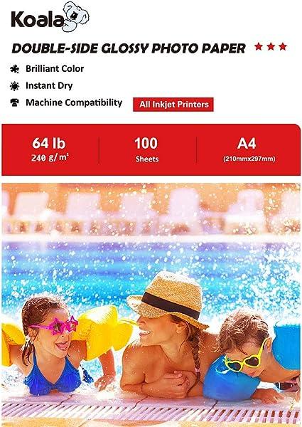210x297 mm KOALA Papier photo double face brillant pour imprimante /à jet dencre 120 g//m/² 100 feuilles A4
