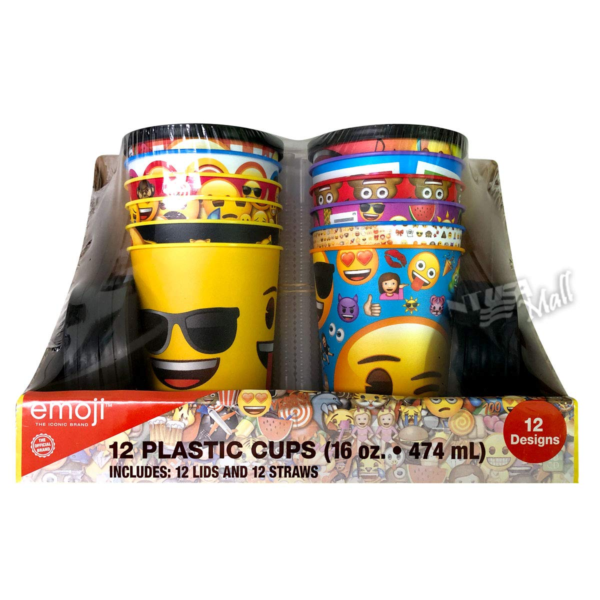 Emoji 16 oz Reusable Plastic Cups with Lid and Straws 12-Pack
