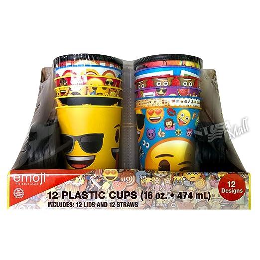 Emoji 16 oz taza de plástico reutilizable con tapa y pajitas ...