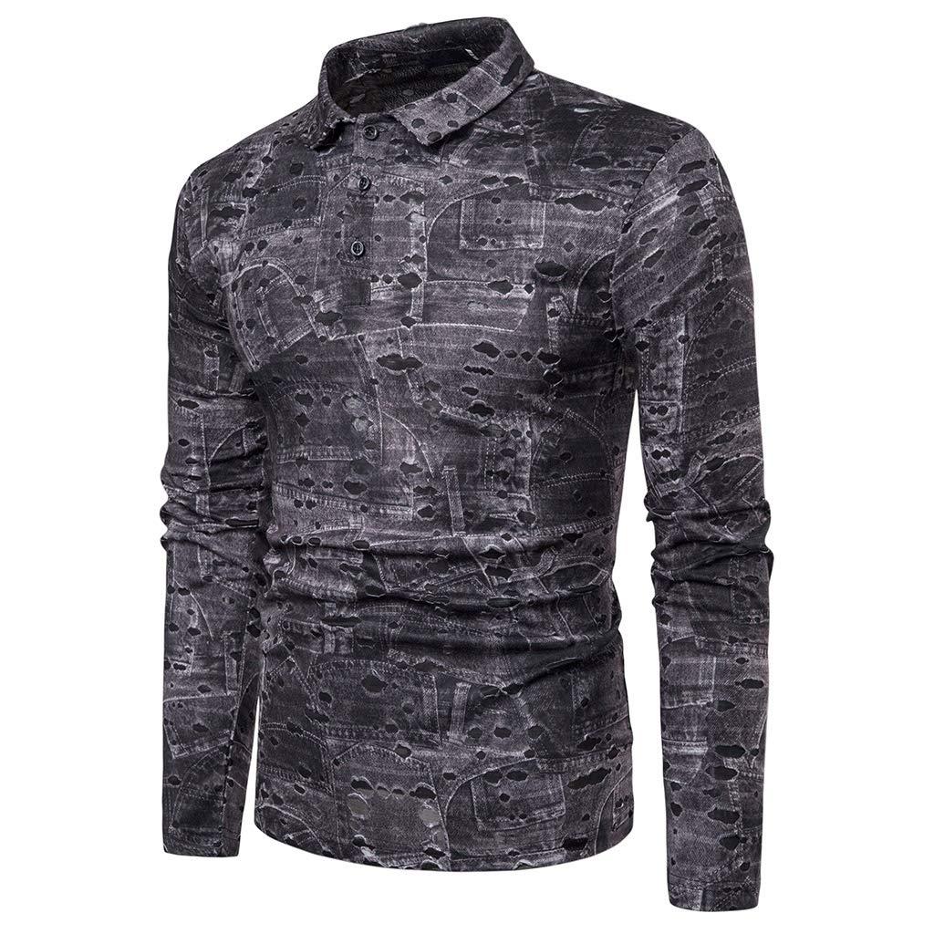 Mens Slim Fit Ripped Shirt Long Sleeve Broken Hole T-Shirt Henley Polo Tops