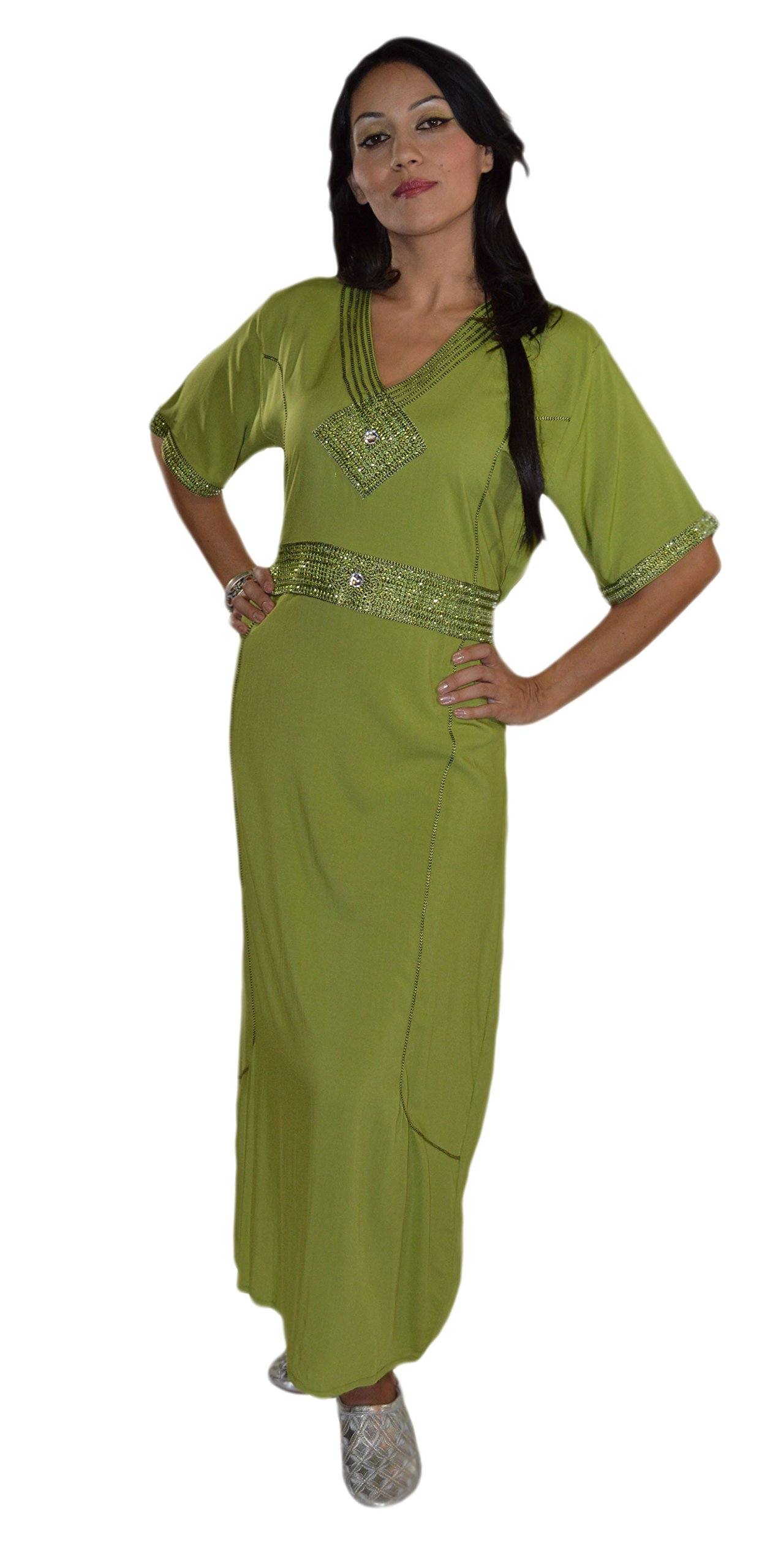 Moroccan Caftan Handmade Light Weight Cotton Embroidery Fits SMALL to MEDIUM Green