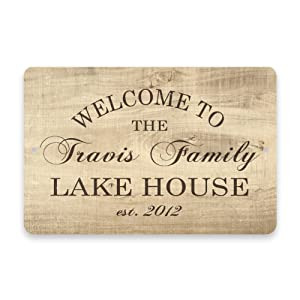 Pattern Pop Personalized Subtle Wood Grain Welcome to The Family Lake House Metal Room Sign