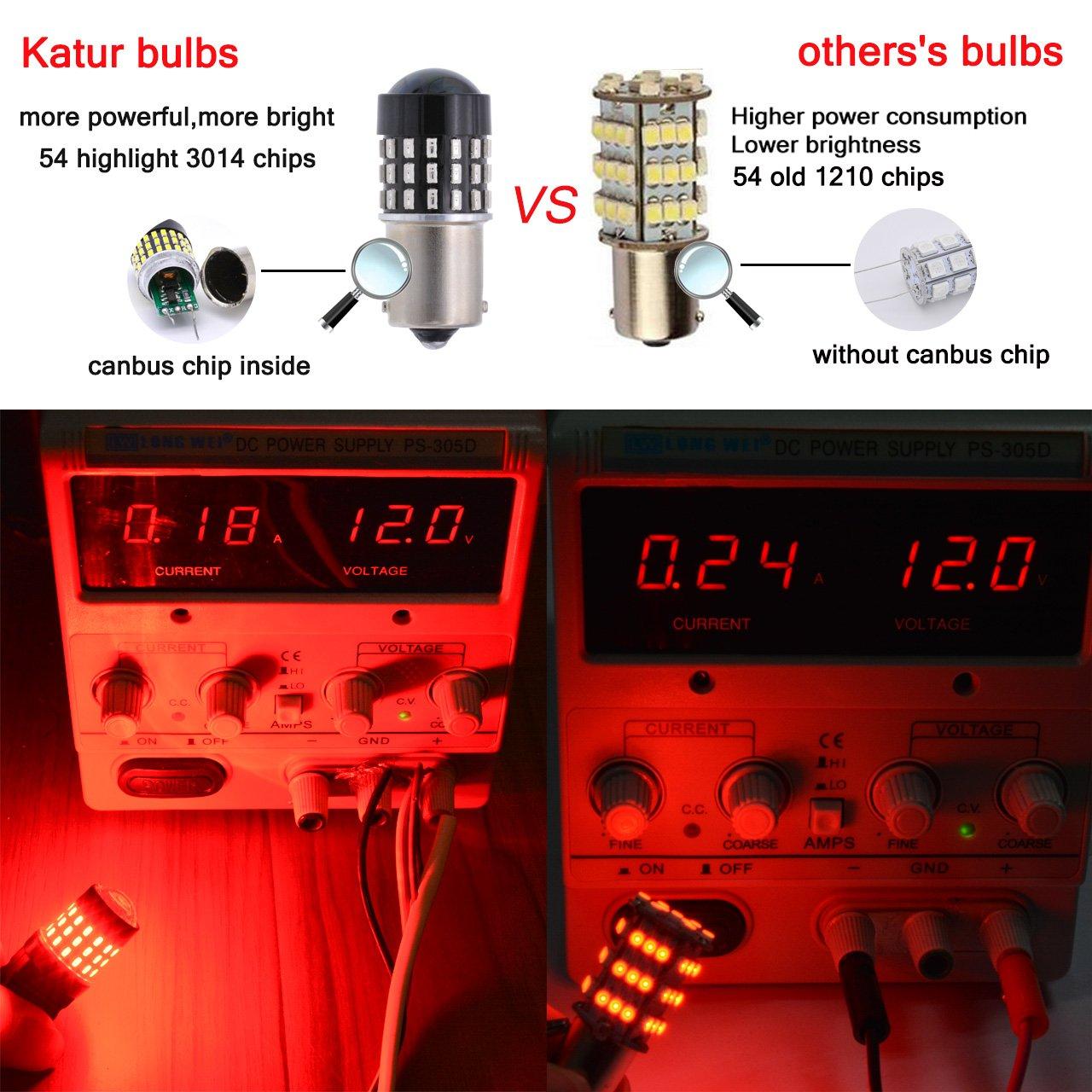 Pack of 4 KaTur 1156 BA15S 7506 1073 1095 Lampadina a LED 3014 54 Chipset 650 Lumens per Segnale di Direzione Back Up Freno Anteriore Stop Stop Parcheggio Luci RV Xenon Bianco
