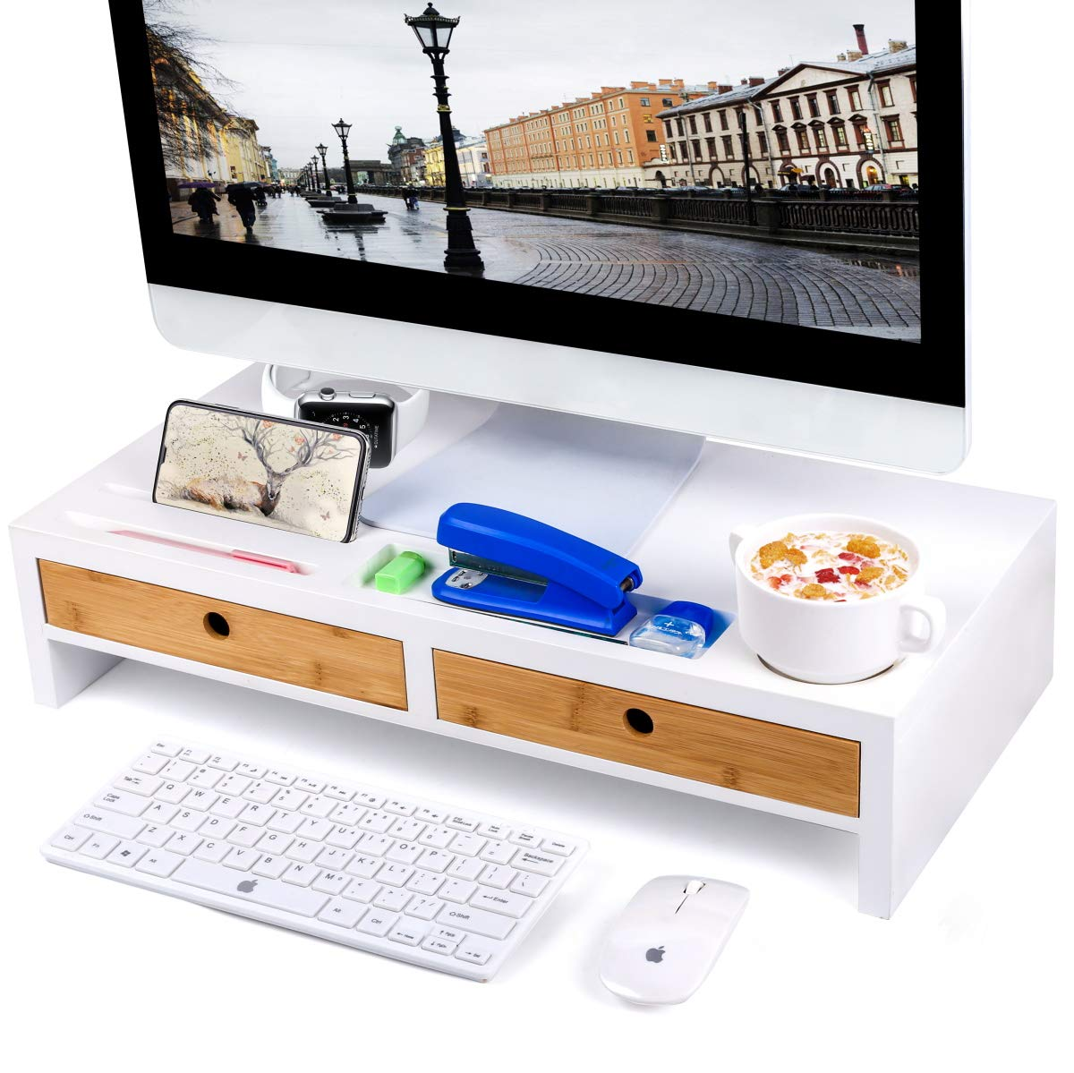 Monitor Stand Computer TV Riser with 2 Drawers & Desktop Organizer Laptop Printer Stand with Keyboard Storage Space for Home & Office