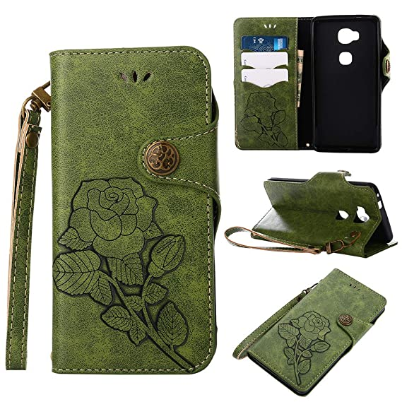 Honor 5X Case,IVY Honor X5 Wallet Phone Case [Rose Retro Style][Kickstand &  Wrist Strap] Leather Case Flip Cover for Huawei Honor 5X / X5 / GR5 / GR5W