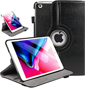 iPad Mini 1/2/3 Case 360 Degree Rotating Stand Case Cover with Auto Sleep/Wake Feature Smart PU Leather Cover for iPad Mini 3 case/ipad Mini 2 case/ipad Mini 1 case(Black)