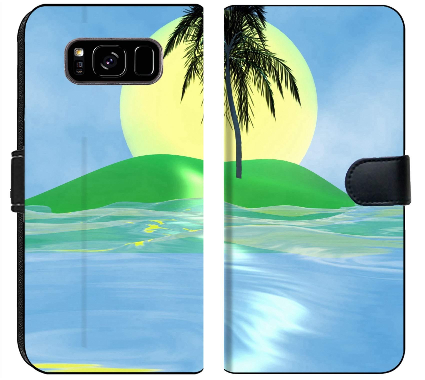 Luxlady Samsung Galaxy S8 Plus Flip Fabric Wallet Case Solar island with a palm tree in the huge dark blue sea IMAGE ID 2842537