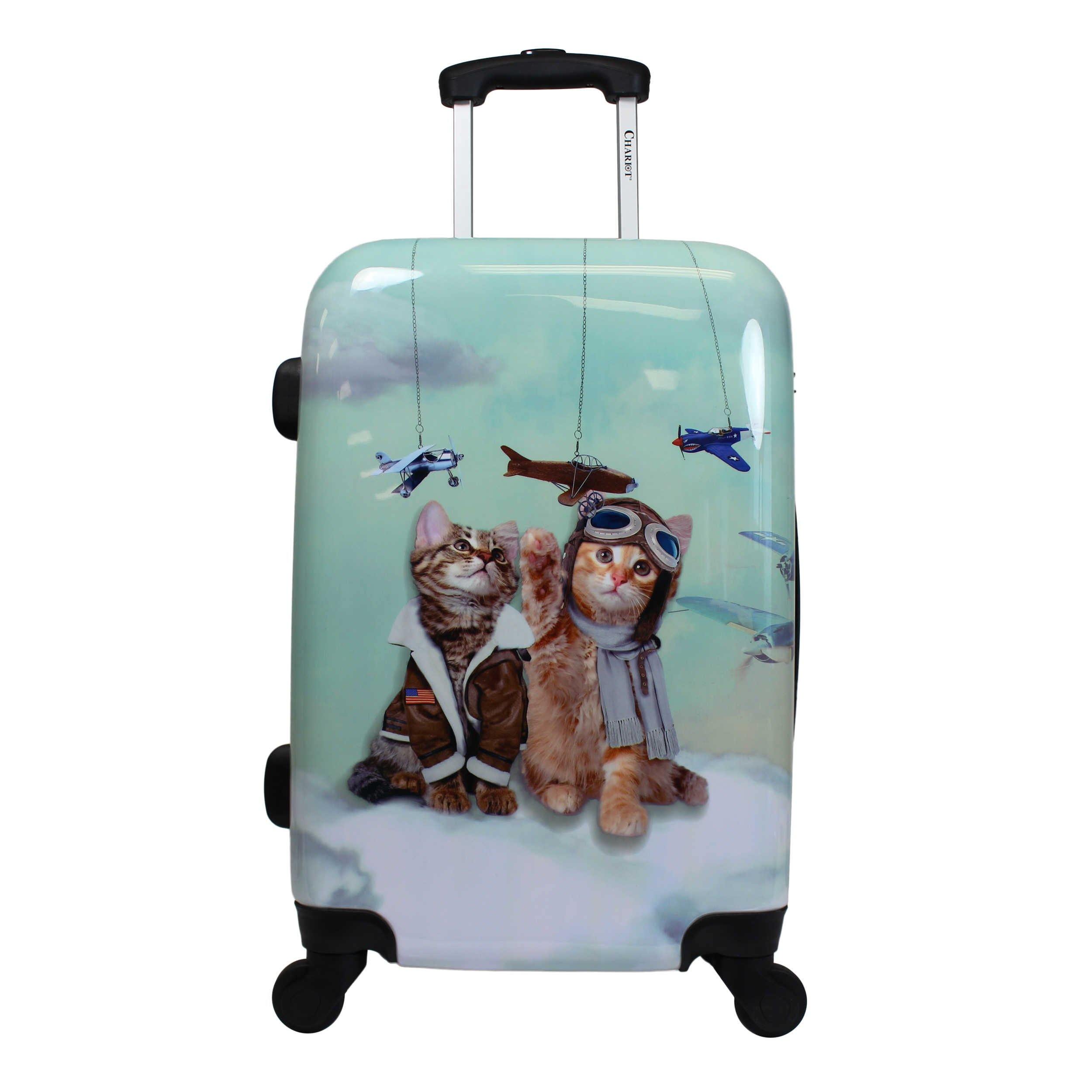 Playful Kittie Pilots Theme Spinner Lightweight Expandable Carry On Luggage Suitcase, Whimsical Cute Animals Prints, Hardshell, Hardsided, Multi Compartment, Handle Travel Case, Blue, Brown, Size 20''
