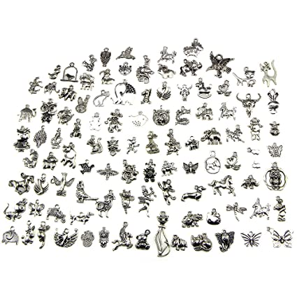 9963d3b7e2b0f Buytra Animal Charms, Wholesale Bulk 100 Pack Mixed Tibetan Pendant Charms  for Jewelry Making Bracelet Necklace DIY Crafts