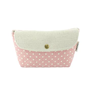 ea6184cee228 Amazon.com   Alluring a la Mode Cute Polka Dots Linen Makeup Travel ...