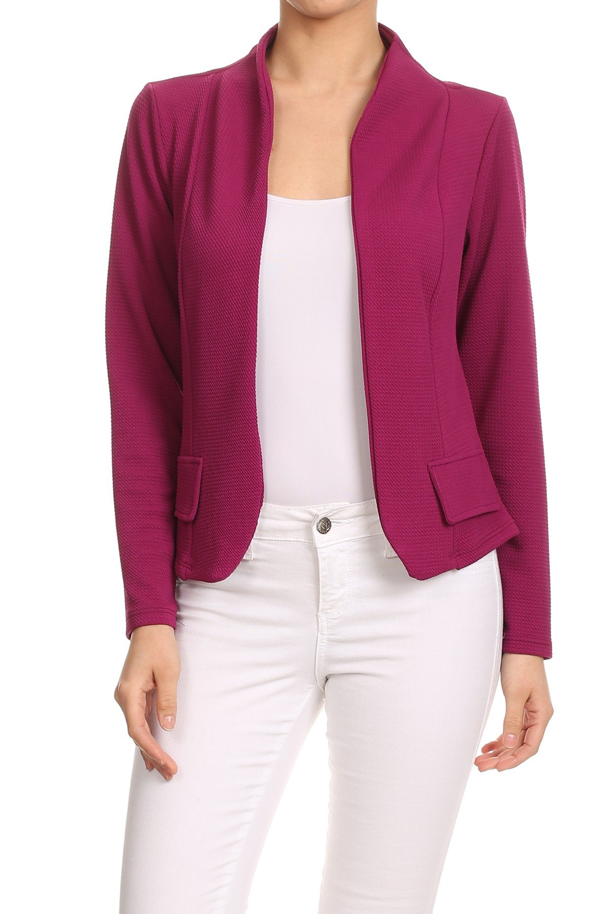 MissyMissy Womens Casual Business Loose Fit Solid Blazer Jackets J907 (3X-Large, Magenta)