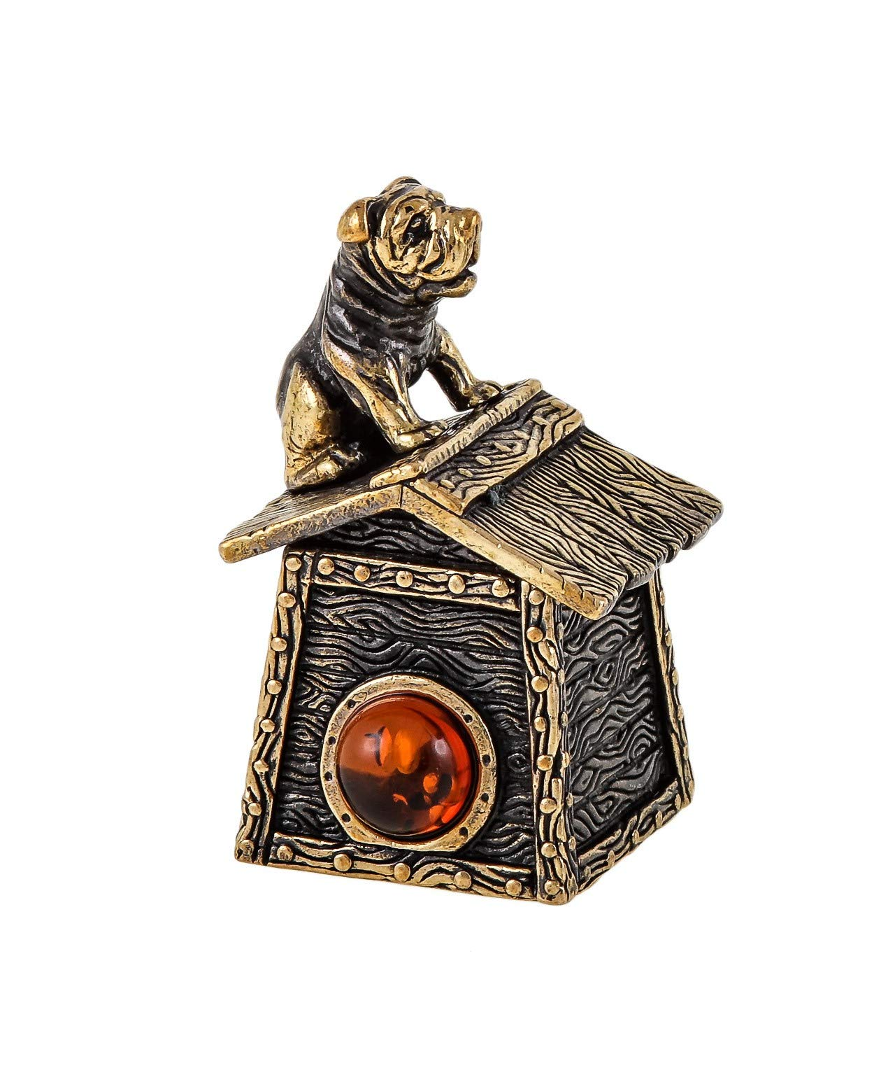 Collectible Thimble (Boxer on Kennel Top) Decorative Amber and Brass Souvenir Thimbles. Antique Designs from Kaliningrad, Russia. Packed in a Beautiful Siberian Birch Bark Gift Box (Random Selection) by Brass and Amber Art