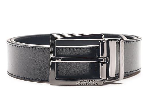 0f0c0c5123 Amazon.com  Versace Collection Men s Black Leather Silver Buckle ...
