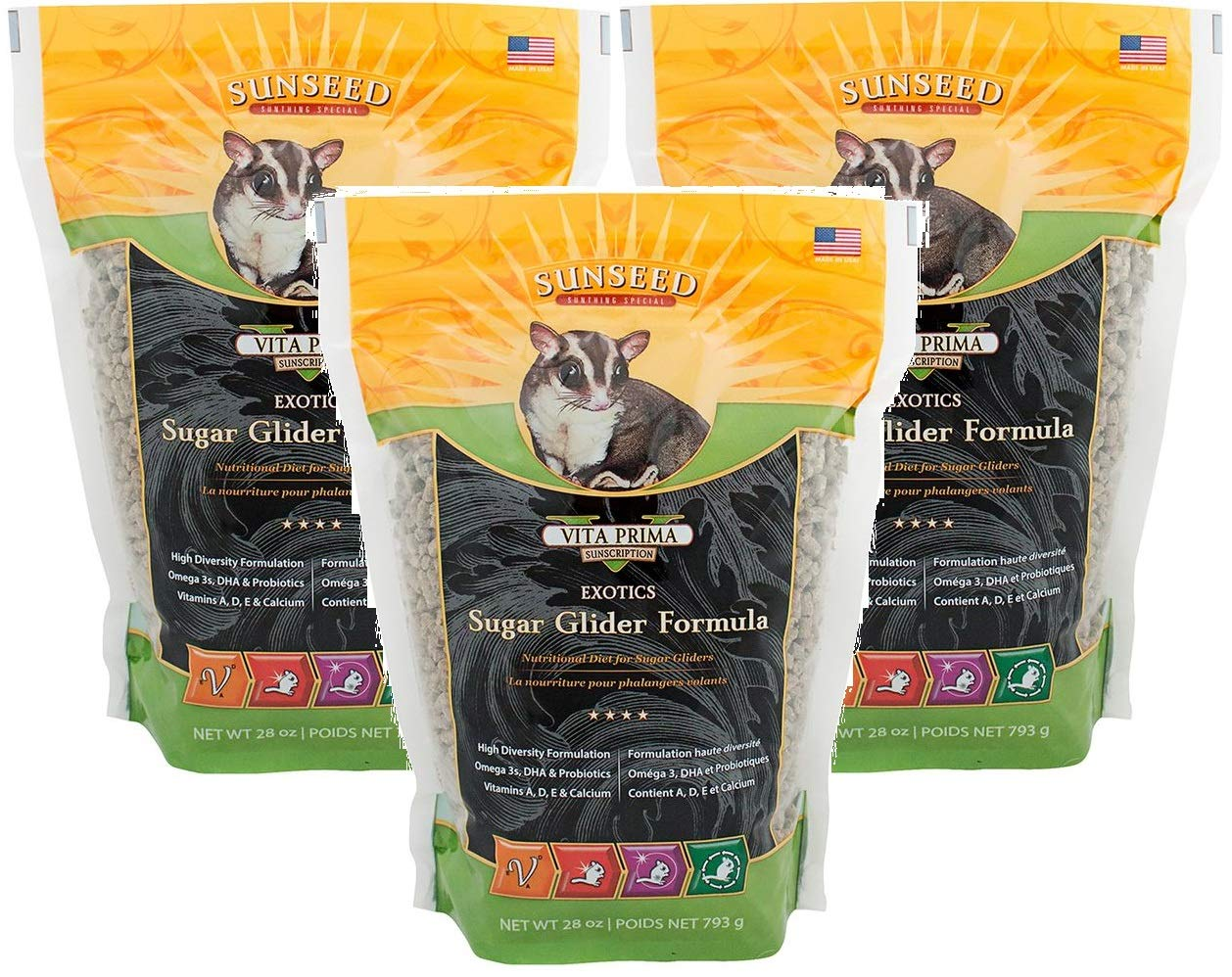 Sun Seed Quiko Sugar Glider Food, 28-Ounce (Pack of 3)