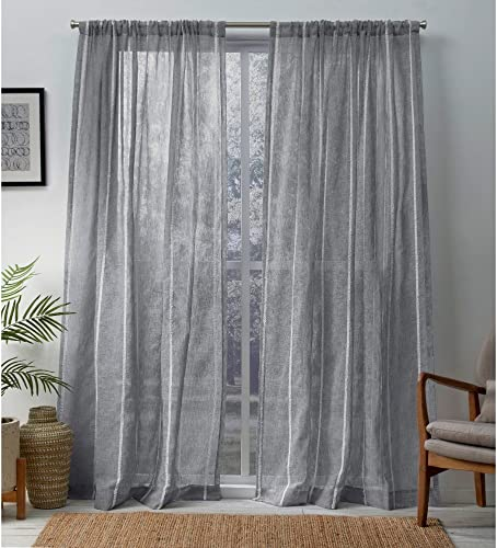 Exclusive Home Curtains Santos Embellished Stripe Sheer Linen Rod Pocket Curtain Panel Pair
