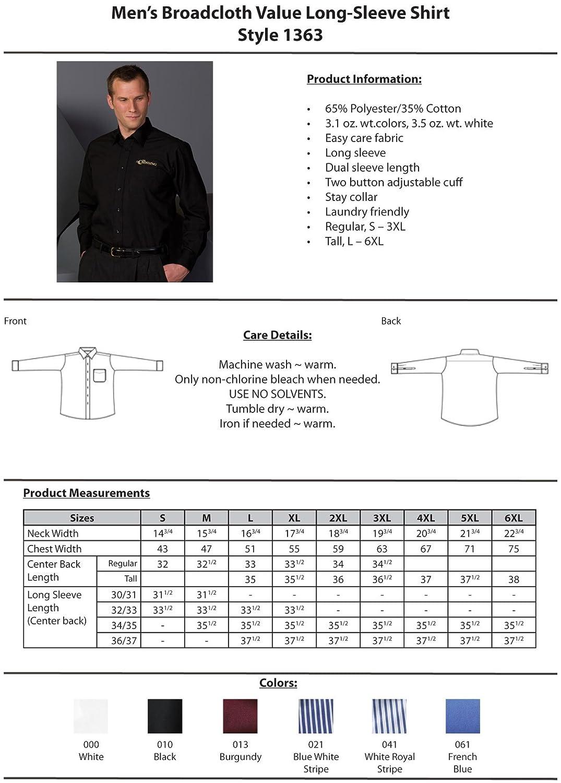 X-Large 37 ROYAL Ed Garments Mens Long Sleeve Broadcloth Shirt