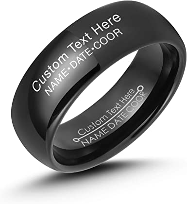 Engagement Ring Free Engraving Anniversary Ring Polished Tungsten Ring Tungsten Wedding Band 8mm Ring Beveled Edge Band Comfort Fit
