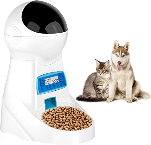 pecticho Pet Feeder, Automatic Cat Feeder Pet Dog Food Dispenser Feeder for Small Medium Large Cat Dog-4 Meal Timer Programmable Voice Recorder Portion Control