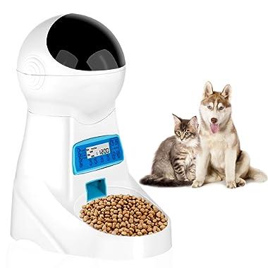 JOYTOOL Automatic Cat Feeder Pet Dog Food Dispenser Feeder 4L Small Medium Large Cat Dog—4 Meal Timer Programmable Voice Recorder Portion Control