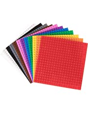 "Classic Baseplates by Strictly Briks | 100% Compatible with All Major Building Brick Brands | Single Sided Stackable Bases | 12 Tight Fit Base Plates in Rainbow Colors 6"" x 6"""