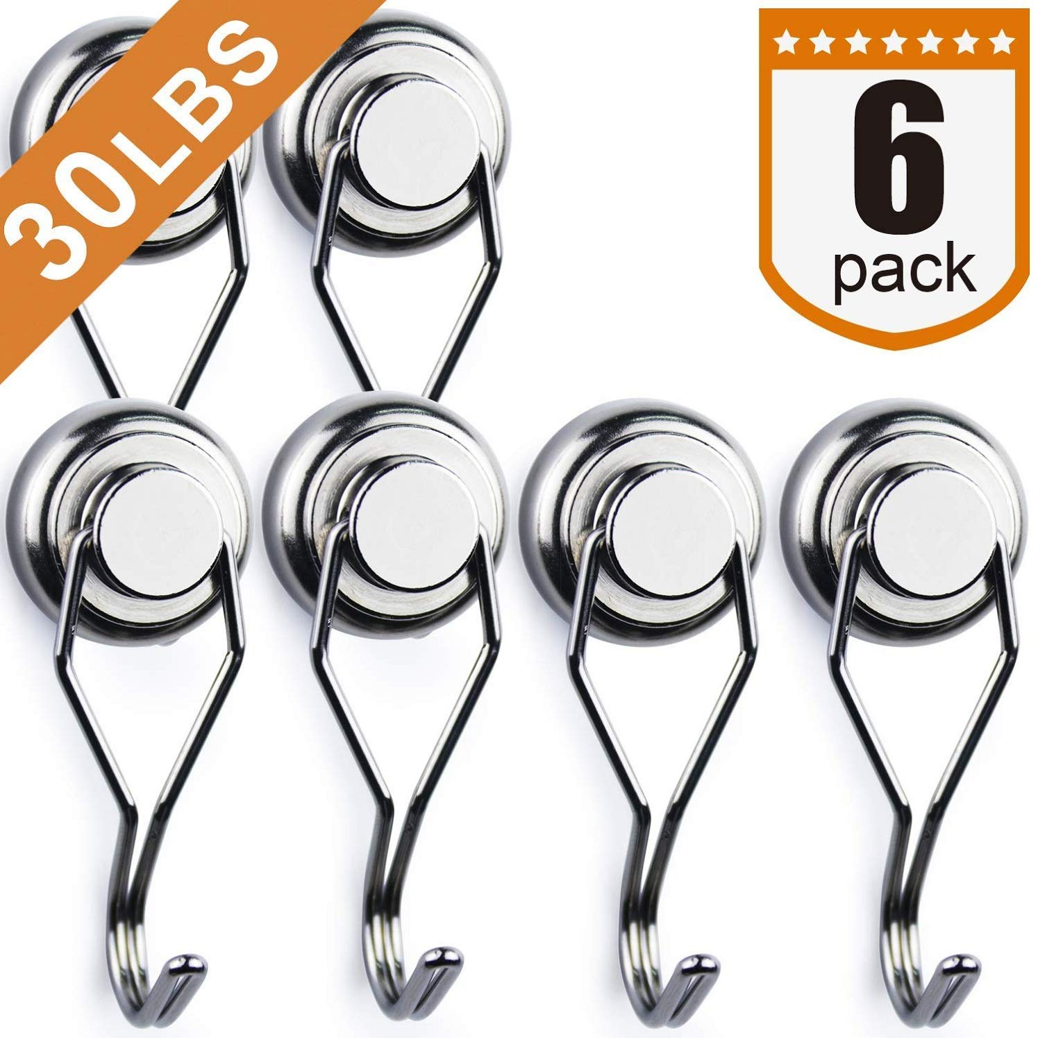 Swivel Swing Powerful Magnetic Hooks,Strong Heavy Duty Neodymium Magnet Hooks - Great for Your Refrigerator and Other Magnetic Surfaces - Pack of 6