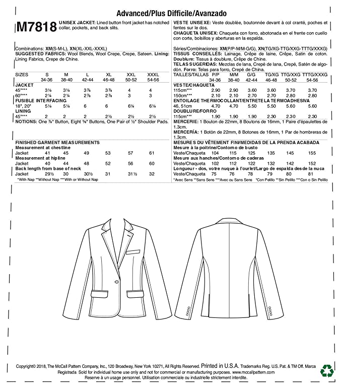 Amazon.com: McCalls Patterns M7818XM MCC 7818 McCalls 5981 Misses Culottes and Jacket Size B (8-10-12) : Arts, Crafts & Sewing