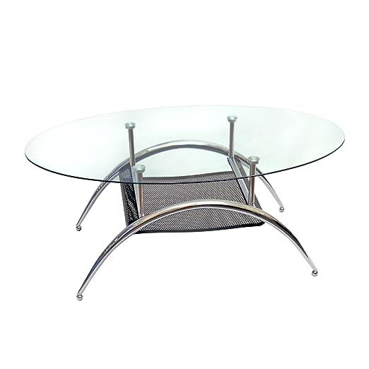 Amazoncom Walker Edison Glass Oval Coffee Table Kitchen Dining