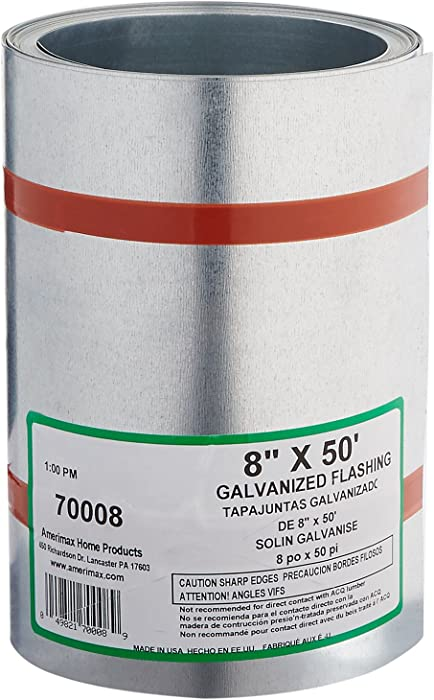 AMERIMAX HOME PRODUCTS70008 8-Inch x 50-Feet Galvanized Flashing