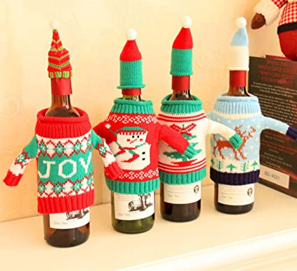 4 pcs christmas bottle cover bag knitted wine sweaters cover dress with hat set christmas decorations