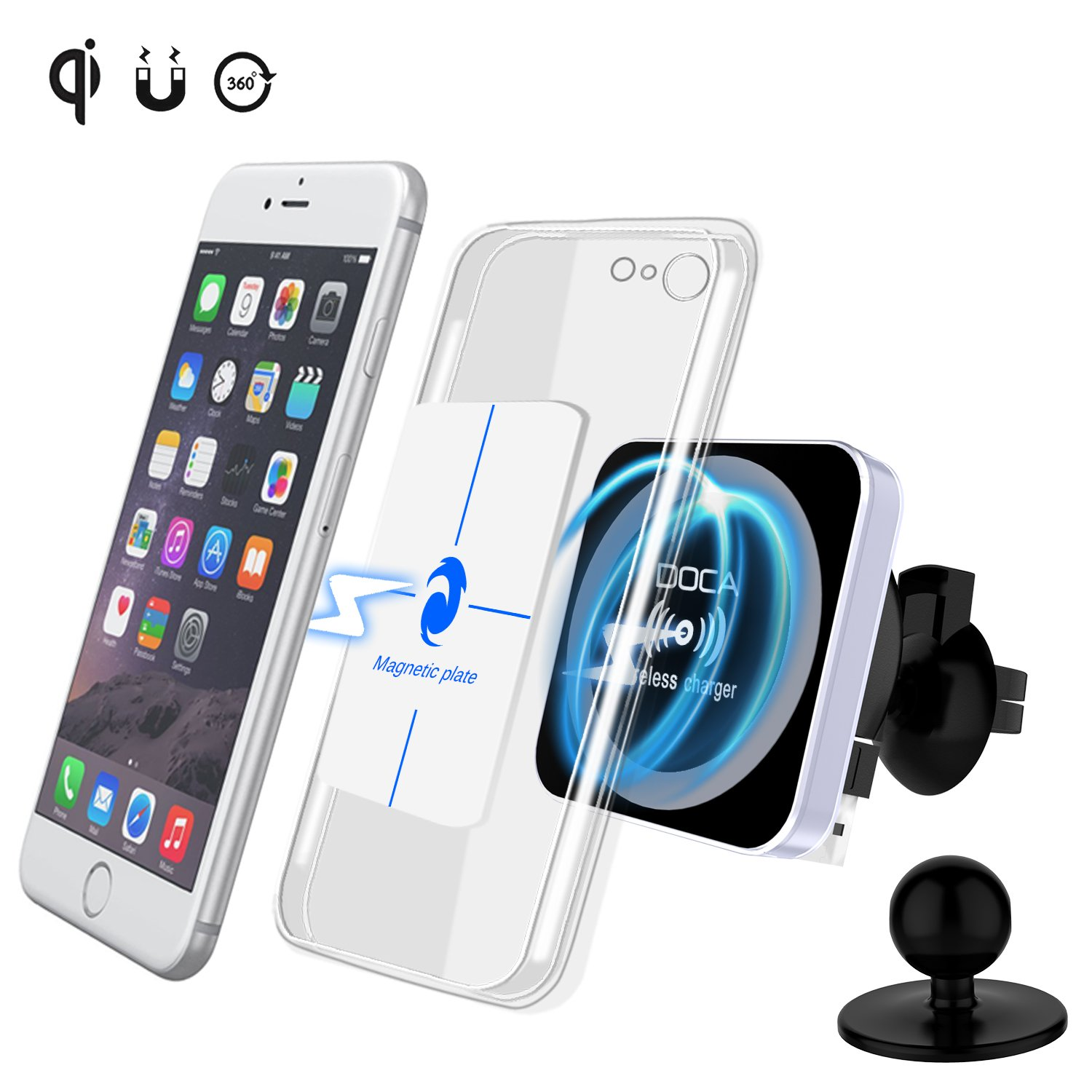 Magnetic Wireless Car Charger, DOCA Magnet QI Wireless Car Charger Mount Holder with Air Vent for iPhone X iPhone 8/8 Plus Galaxy Note 8 S8/S8 Plus S7 Edge and Any QI Enabled Phones by DOCA (Image #1)