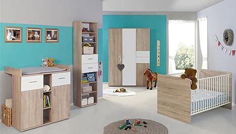 Babyzimmer / Kinderzimmer komplett Set ELISA 4 in Eiche Sonoma Weiß,  Komplettset mit grossem 3-türigen Kleiderschrank Babybett Lattenrost ...