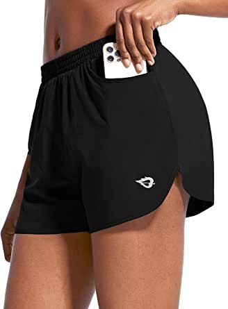 BERGRISAR Womens 3 Workout Yoga Active Running Shorts 2 in 1 with Side Zipper Pocket BG115