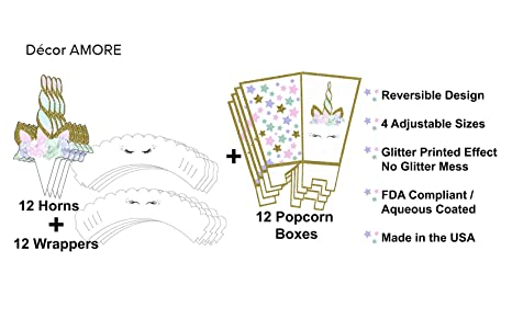 Unicorn Cupcake Topper and Wrapper with Popcorn Boxes - Premium Product Made in the USA - Serves 12: Amazon.com: Grocery & Gourmet Food