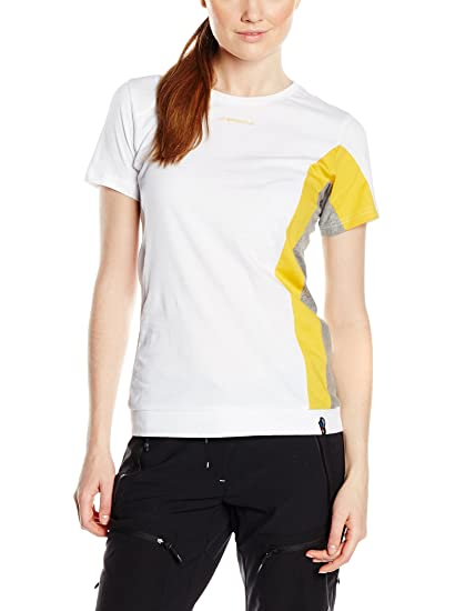 14ee55d3f48 Amazon.com : La Sportiva Women's Elixir T-Shirt White/Yellow S ...