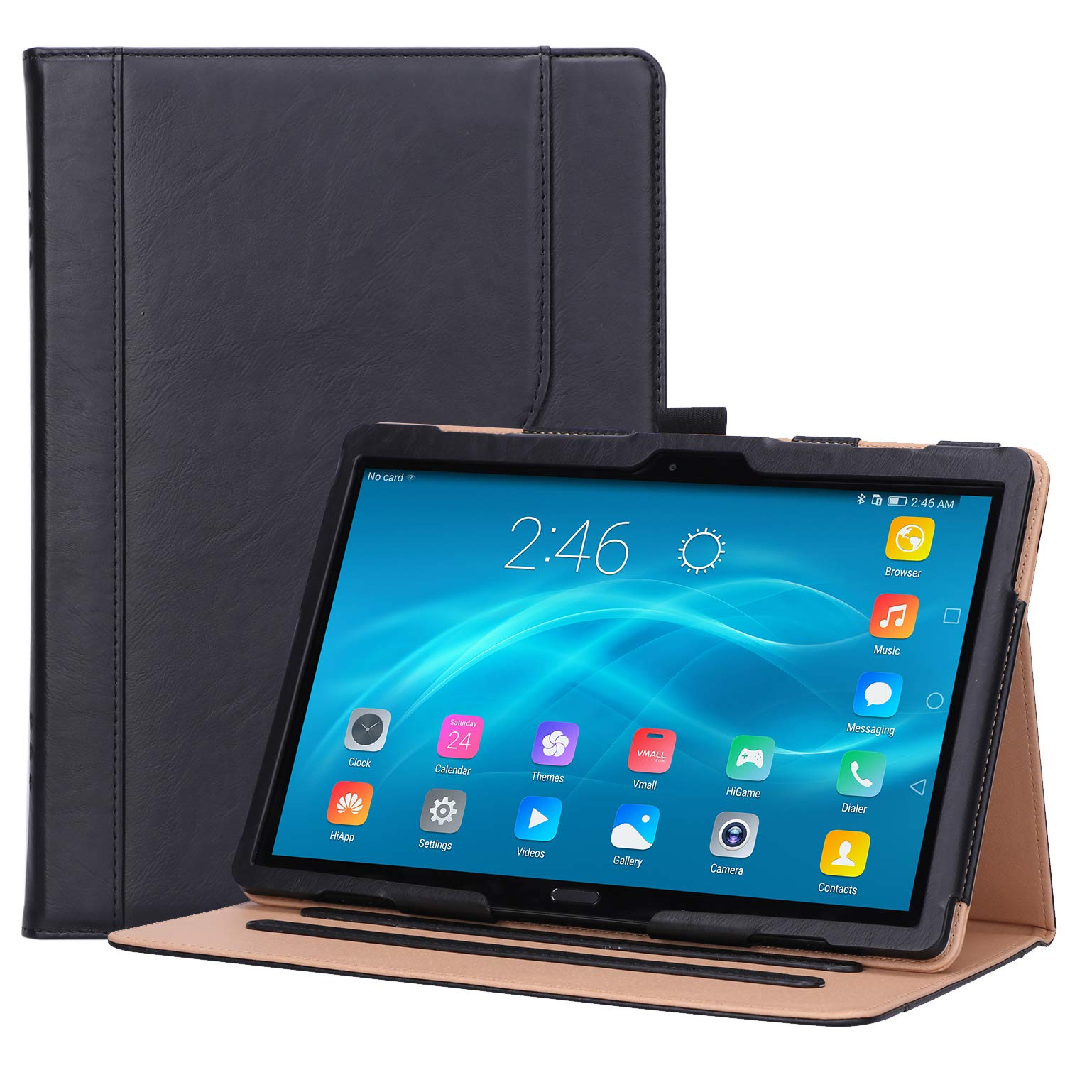 """Procase Lenovo Tab P10 / M10 10.1 Case, Stand Folio Case Cover for Lenovo Tab P10 TB-X705F TB-X705L / M10 TB-X605F TB-X505F 10.1"""" Tablet, with Multiple Viewing Angles, Document Card Pocket -Black"""