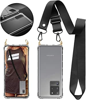 UKON Phone Lanyard Case Adjustable Crossbody Cell Phone Lanyard Hard TPU Full Frame Case with Removable Universal Neck Strap for Samsung Galaxy S20 Ultra (Clear-S20 Ultra)