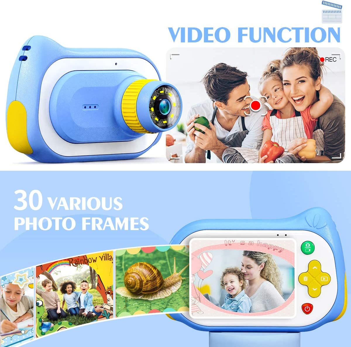 Kids Camera,15MP 1080P HD Digital Video Camera 200X Magnification Camera with 2.0 Inch IPS HD Screen,32GB SD Card Included Girls Boys Mini Toy Camera Birthday Gifts for Kids Age 3-14