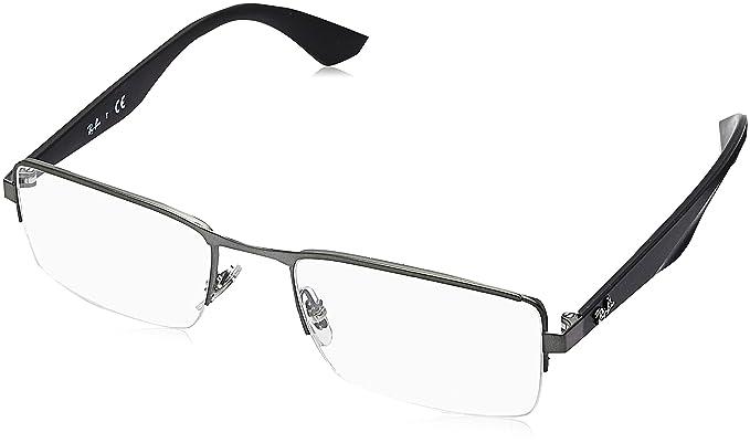 fcc9329bbe Ray-Ban Men s 0rx6331 No Polarization Rectangular Prescription Eyewear  Frame Matte Gunmetal 52 mm