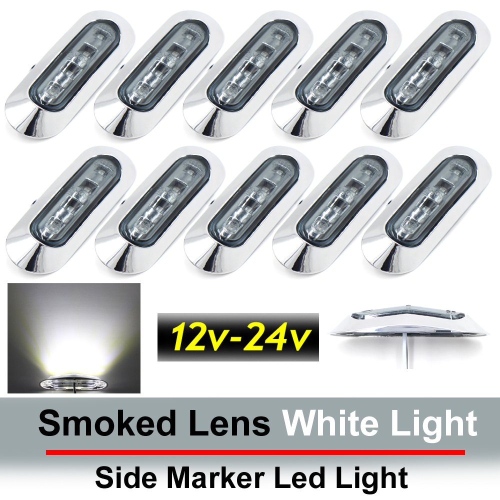 10 pcs TMH 3.6'' submersible 4 LED Smoked Lens White Light Side Led Marker 10-30v DC, Truck Trailer marker lights, Marker light amber, Rear side marker light, Boat Cab RV by TMH