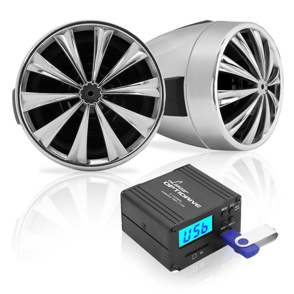"3"" Motorcycle Speaker Amplifier System - 700 Watt Weatherproof w/Two 3'' Waterproof Speakers, AUX IN, FM Radio, USB Charger - Handlebar Mount ATV Mini Stereo Audio Receiver Kit Set - Lanzar OPTIMC80"