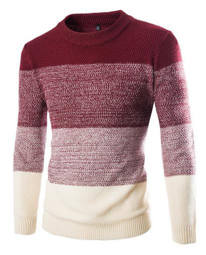 Zicac Men's Casual Fashion Pullover Sweater Assorted Knitwear (US:L/Asia Tag XXL, Wine Red)