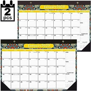 Desk Calendar 2020,2 Pack Desktop 17x12 Monthly Desk Blotter Pad Academic School Year Calendar Teacher Family Calendar
